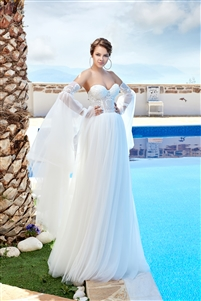 Style 1919 | Custom Dream Gowns | Wedding Dresses & Bridal Gowns | Custom Wedding Dresses | Removable Sleeves Wedding Dresses | Boho Wedding Dresses | Lace Wedding Dresses | 2019 Wedding Dresses | A-Line Wedding Dresses | Tulle Wedding Dresses