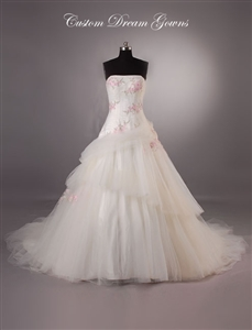 Lena By Custom Dream Gowns | Custom Wedding Dresses | Floral Wedding Dresses | Feminine Wedding Dresses | Fit and Flare Wedding Dresses | Layered Skirt Wedding Dresses | Dropped Waist Wedding Dresses | Sexy Wedding Dresses | Corset Wedding Dresses