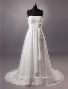 Sandy  By Custom Dream Gowns | Custom Wedding Dresses | Beach Wedding Dresses | Empire Waist Wedding Dresses | Chiffon Wedding Dresses | Lace Wedding Dresses | A-Line Wedding Dresses | Strapless Wedding Dresses | Boho Wedding Dresses | Designer Dresses