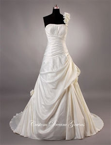 Patricia By Custom Dream Gowns | Custom Wedding Dresses | Beach Wedding Dresses | One Shoulder Wedding Dresses | A-Line Wedding Dresses | Slim A-Line Wedding Dresses | Ruched Wedding Dresses | Taffeta Wedding Dresses | Draped Skirt Wedding Dresses