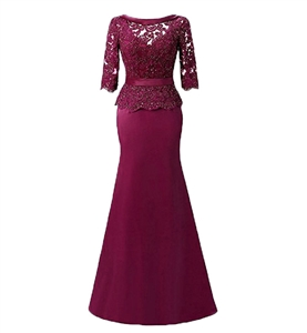 CDG 1033 Mother of the Bride Dress by Custom Dream Gowns | Evening Gowns | Formal Dress | Elbow Sleeve Mother of the Bride Dress | Lace Mother of the Bride Dress | Mermaid Mother of the Bride Dresses | Evening Gowns | Beaded Mother of the Bride Dresses