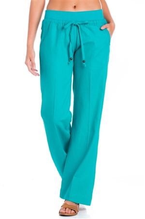 Women's Plus Size Casual Linen Lounge Pants with Drawstring Waistline