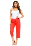 Women's Casual Linen Lounge Capri Pants with Drawstring Waistline