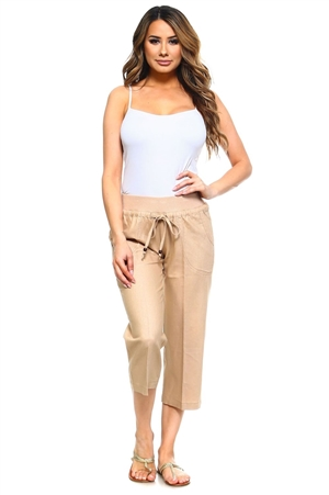 Women's Plus Size Casual Linen Lounge Capri Pants with Drawstring Waistline
