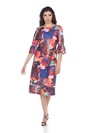 Wholesale Clothing Women's Abstract Print Flared Sleeve Mesh Insert Dress -CC-2600-A