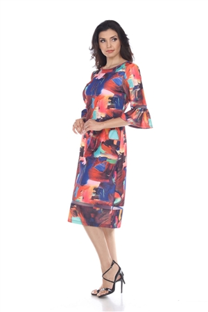 Wholesale Clothing Plus Size Women's Abstract Print Flared Sleeve Mesh Insert Dress -CC-2600-B