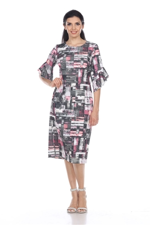Wholesale Clothing Women's Abstract Print Ruffled Sleeve Dress -CC-2601-A