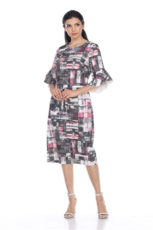 Wholesale Clothing Plus Size Women's Abstract Print Ruffled Sleeve Dress -CC-2601-B