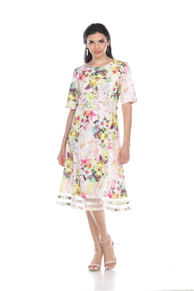 Wholesale Clothing Women's Floral Print Short Sleeve Mesh Insert Dress -CC-2602-A