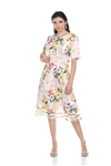 Wholesale Clothing Plus Size Women's Floral Print Short Sleeve Mesh Insert Dress -CC-2602-B