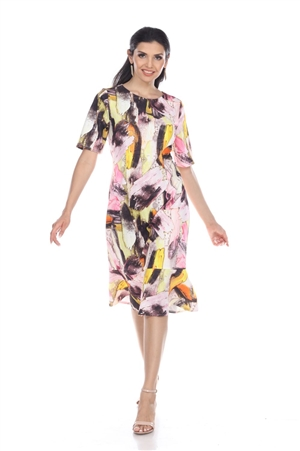 Wholesale Clothing Women's Abstract Print Short Sleeve Dress -CC-2603-A
