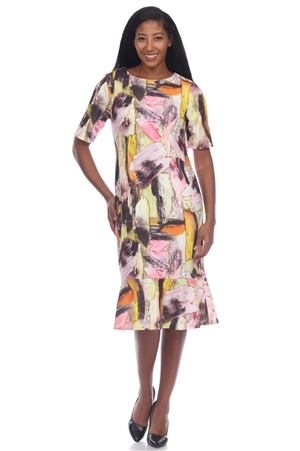Wholesale Clothing Plus Size Women's Abstract Print Short Sleeve Dress -CC-2603-B