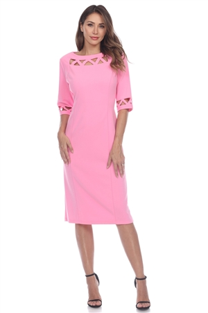 Wholesale Clothing Women's Caged Trim Neckline ¾ Sleeve Dress -CC-2604-A