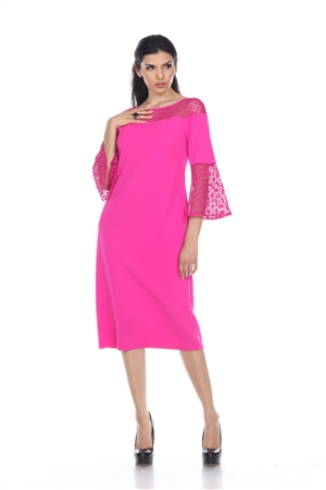 Wholesale Clothing Women's Crochet Lace Trim Neck and Flared Sleeve Dress -CC-2608-A