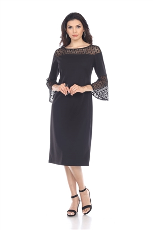 Wholesale Clothing Plus Size Women's Crochet Lace Trim Neck and Flared Sleeve Dress -CC-2608-B
