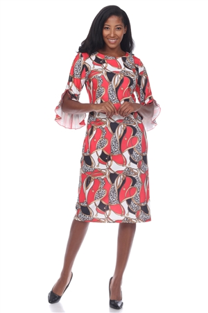 Wholesale Clothing Women's Chain Print ¾ Flared Sleeve Dress -CC-2618-A