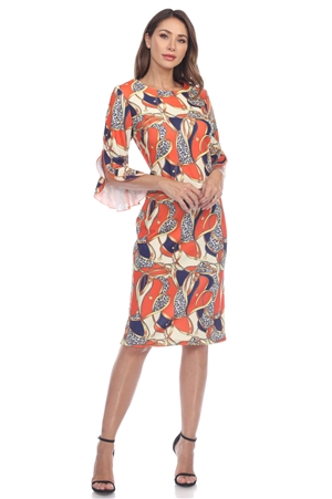 Wholesale Clothing Plus Size Women's Chain Print ¾ Flared Sleeve Dress -CC-2618-B