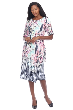 Wholesale Clothing Women's Abstract Print Short Sleeve Dress -CC-2619-A