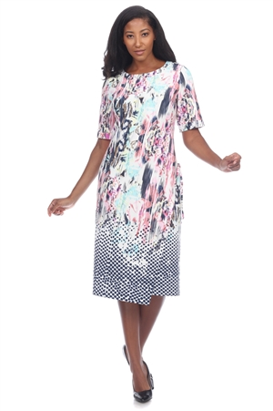 Wholesale Clothing Plus Size Women's Abstract Print Short Sleeve Dress -CC-2619-B