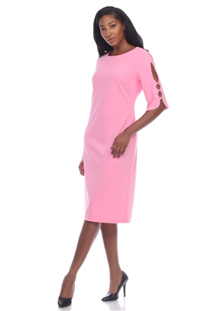 Wholesale Clothing Plus Size Women's Cutout ¾  Sleeve Dress -CC-2622-B