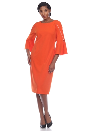 Wholesale Clothing Women's Zippered ¾ Flared Sleeve Dress -CC-2639-A