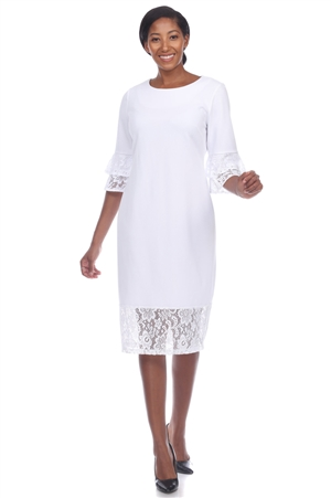 Wholesale Clothing Plus Size Women's Crochet Lace Trim Hem and ¾ Ruffled Sleeve Dress -CC-2640-B