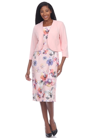 Wholesale Clothing Plus Size Women's Floral Print 2PC Dress Set -CC-2646-B