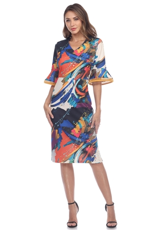 Wholesale Clothing Women's Abstract Print ¾ Crochet Trim Bell Sleeve Dress -CC-2651-A