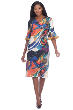Wholesale Clothing Plus Size Women's Abstract Print ¾ Crochet Trim Bell Sleeve Dress -CC-2651-B