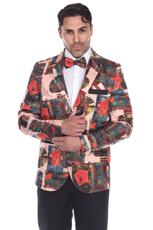 Wholesale Clothing Men's Blazer Jacket Print Design -JRM-1007-A