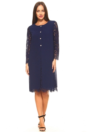 Women's Floral Pattern Lace Long Sleeve Button Down Mid Length Dress