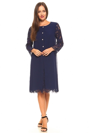 Plus Size Women's Floral Pattern Lace Long Sleeve Button Down Mid Length Dress