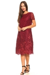 Women's Plus Size Leaf Patterned Tiered Crochet Lace Mid Length Cocktail Dress
