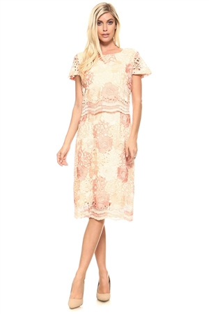 Women's Floral Patterned Crochet Lace Tiered Mid Length Cocktail Dress