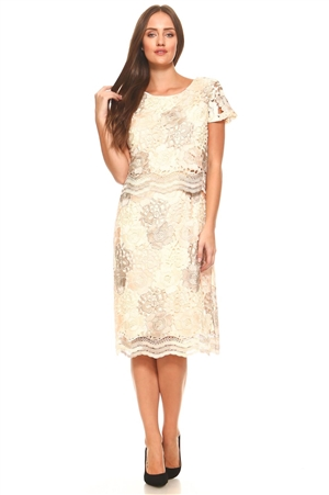 Women's Plus Size Floral Patterned Crochet Lace Tiered Mid Length Cocktail Dress