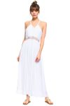 Wholesale Clothing Women's Crochet Trim Design Side Slit Tank Maxi Dress -LAD-5309-A