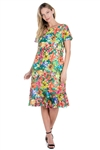 Wholesale Clothing Women's Multi Colored Floral Crochet Lace Knee Length Dress Set -LAD-9114-A