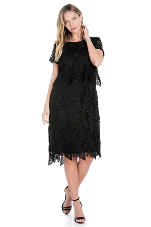 Wholesale Clothing Women's Multi Colored Crochet Lace Knee Length Dress Set -LAD-9121-A