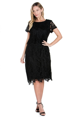 Wholesale Clothing Plus Size Women's Multi Colored Crochet Lace Knee Length Dress Set -LAD-9121-B