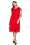 Wholesale Clothing Plus Size Women's Crochet Lace Knee Length Dress Set -LAD-9123-B