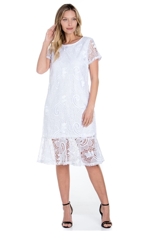 Wholesale Clothing Plus Size Women's Crochet Lace Knee Length Dress Set -LAD-9125-B
