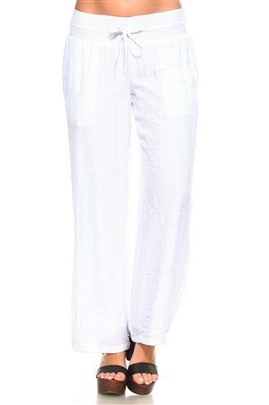 Wholesale Fashion Women's Casual Lounge Palazzo Pants with Smocked Drawstring Waistline and Full Lining -LAP-5183-A