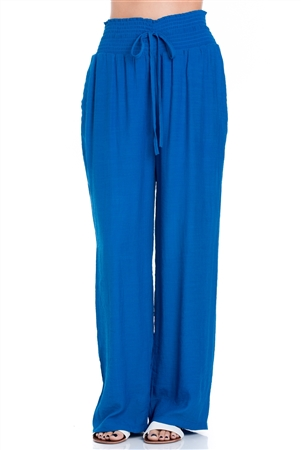 Wholesale Fashion Plus Size  Women's Casual Lounge Palazzo Pants with Smocked Drawstring Waistline and Full Lining -LAP-5183-B