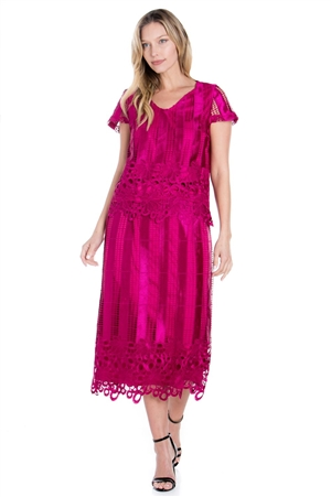 Wholesale Clothing Women's Crochet Lace 2 piece Knee Length Dress Set -LAS-9122-A