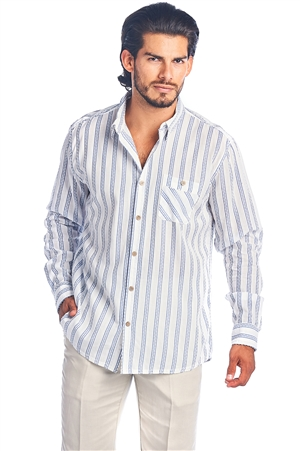 Men's Button Down Casual Resort Long Sleeve Stripe Shirt