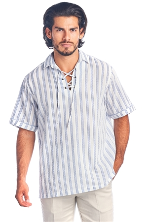 Men's  Lace Up Collar Casual Resort Short Sleeve Stripe Shirt