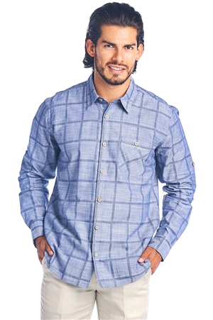 Men's Button Down Casual Checkered Dress Shirt