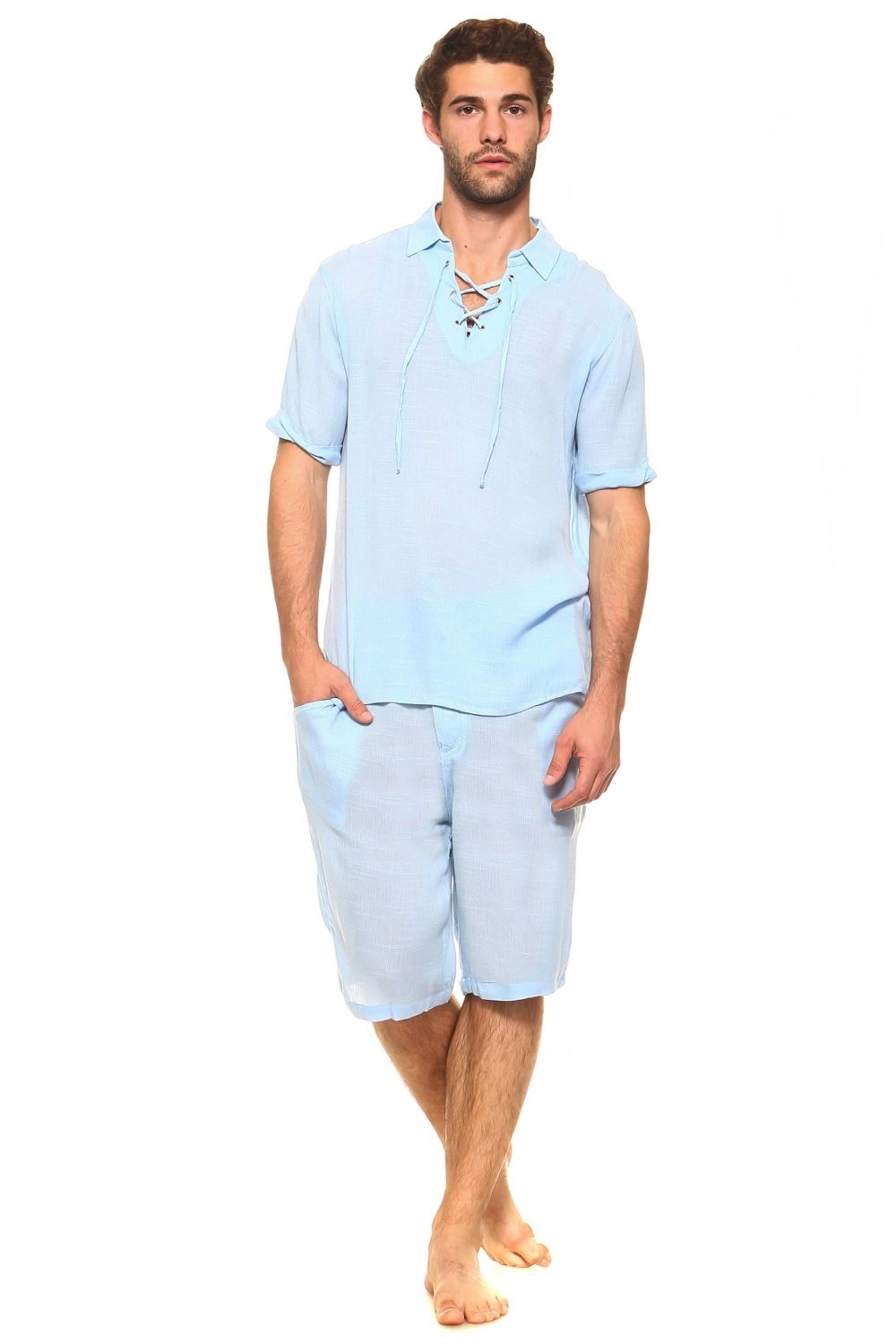 Wholesale Men S Resort Lounge Lace Up Shirt And Drawstring