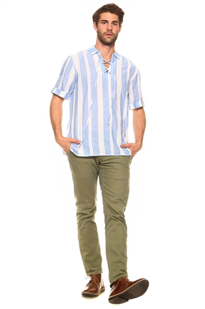 Wholesale Clothing Men's Striped Short Sleeve Lace Up Collar Neckline Lounge Shirt -M-1414-A