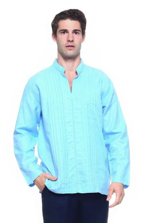 Wholesale Clothing Men's Linen Blend Mandarin Collar Lounge Shirt with Long Sleeve Pleated Front  -M-1800-A